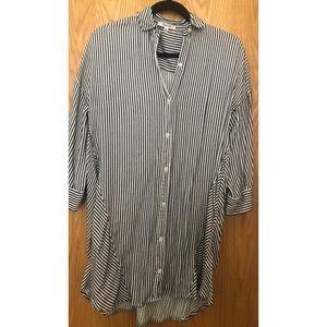 MADEWELL Button Up Shirt Dress, Stripe